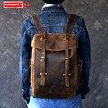 Новый мужской рюкзак из натуральной кожи в стиле ретро, Большая вместительная сумка на плечо, мужские коричневые дорожные рюкзаки 14
