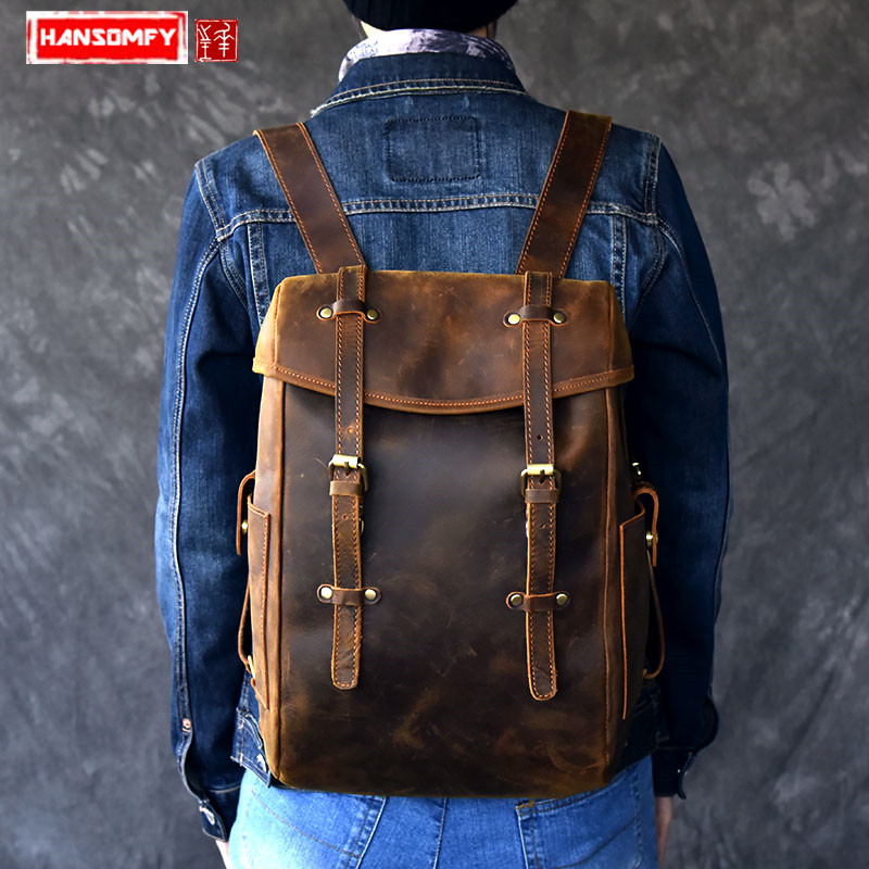 "New Genuine Leather Men's Backpack retro Large capacity shoulder bag  crazy horse leather male 14"" Laptop brown travel backpacks-in Backpacks from Luggage & Bags    1"