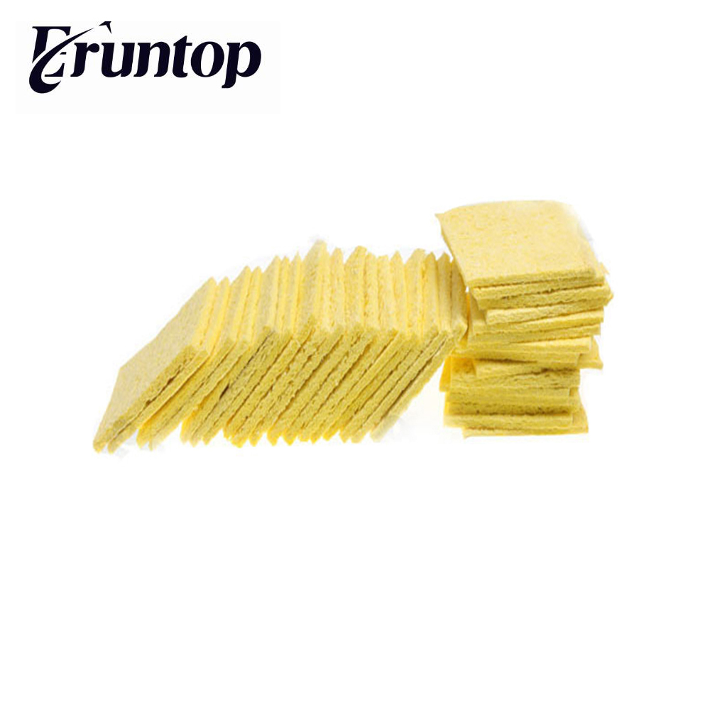 20pcs Yellow Sponge Soldering Iron Solder Welding Head Cleaning Remove Tin Replacement elecall 50pcs set high temperature enduring square shape electric welding soldering iron cleaning sponge yellow hot new arrival