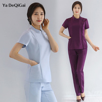 Beauty salon work clothing slim fit overalls beautician health museum SPA workwear suit elegant quality tops+pants set women new