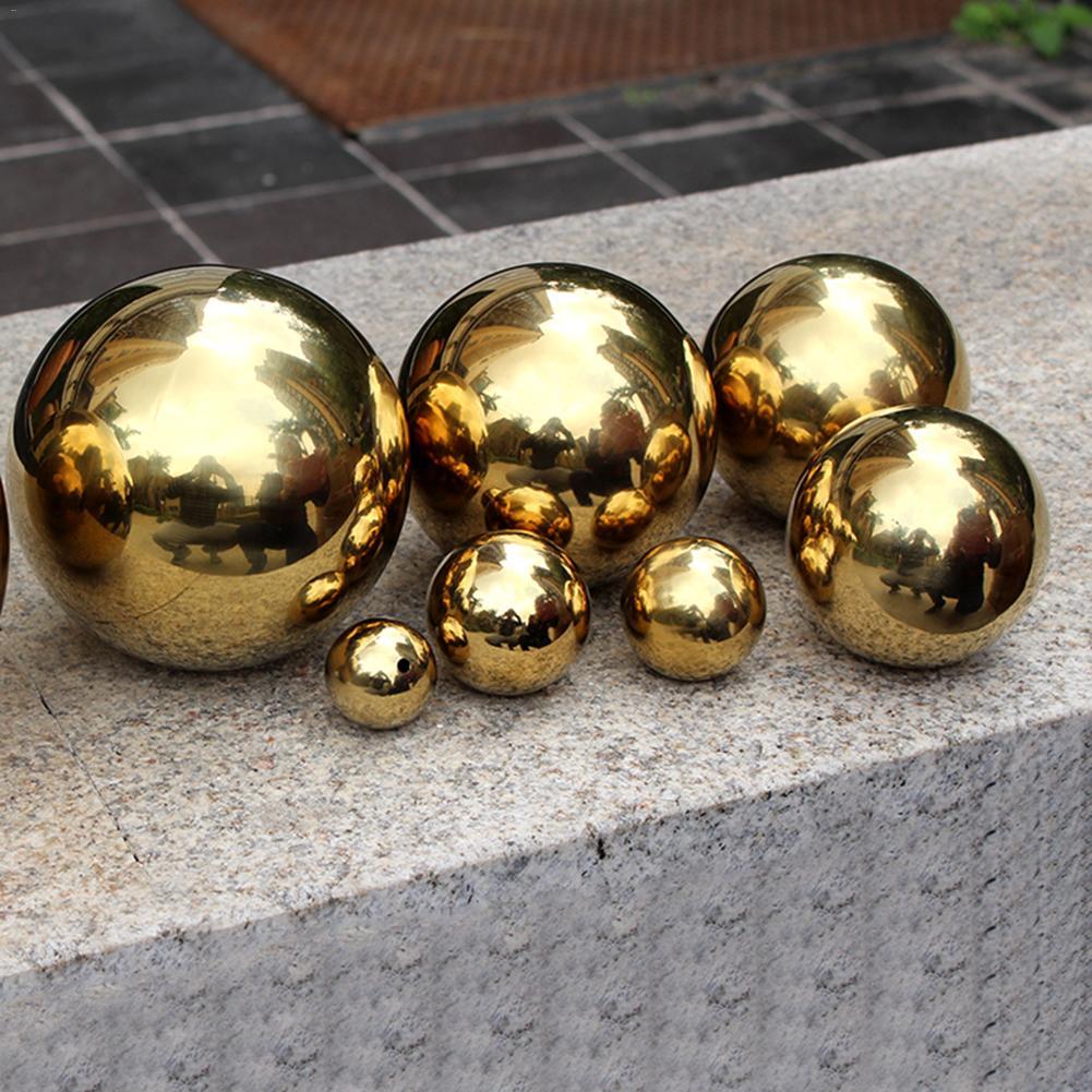 Esfera de metal hueco de acero inoxidable decoración de jardín de metal sin costuras diámetro de bola de espejo de oro jardinage 25mm/32mm/ 75mm/100mm Aspersor rotativo de 360 ángulos con rosca macho de 1/2 pulgadas, riego de césped para Agricultura, Riego de jardín, 1 Uds