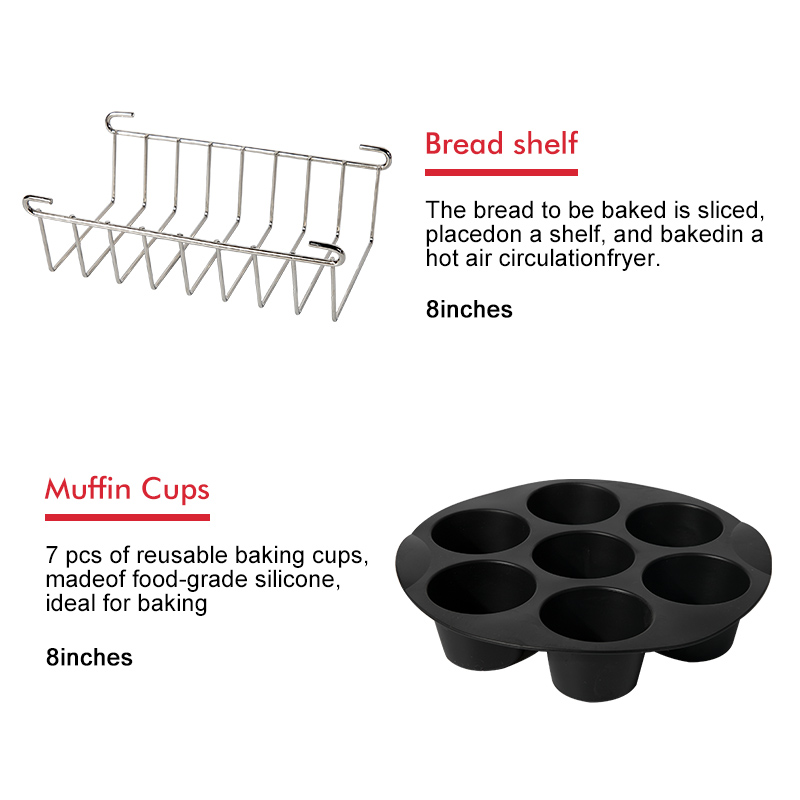7pcs/set High Quality 8 Inch Air Fryer Accessories for Gowise Phillips Cozyna and Secura Fit all Airfryer 5.3QT to 5.8QT 4