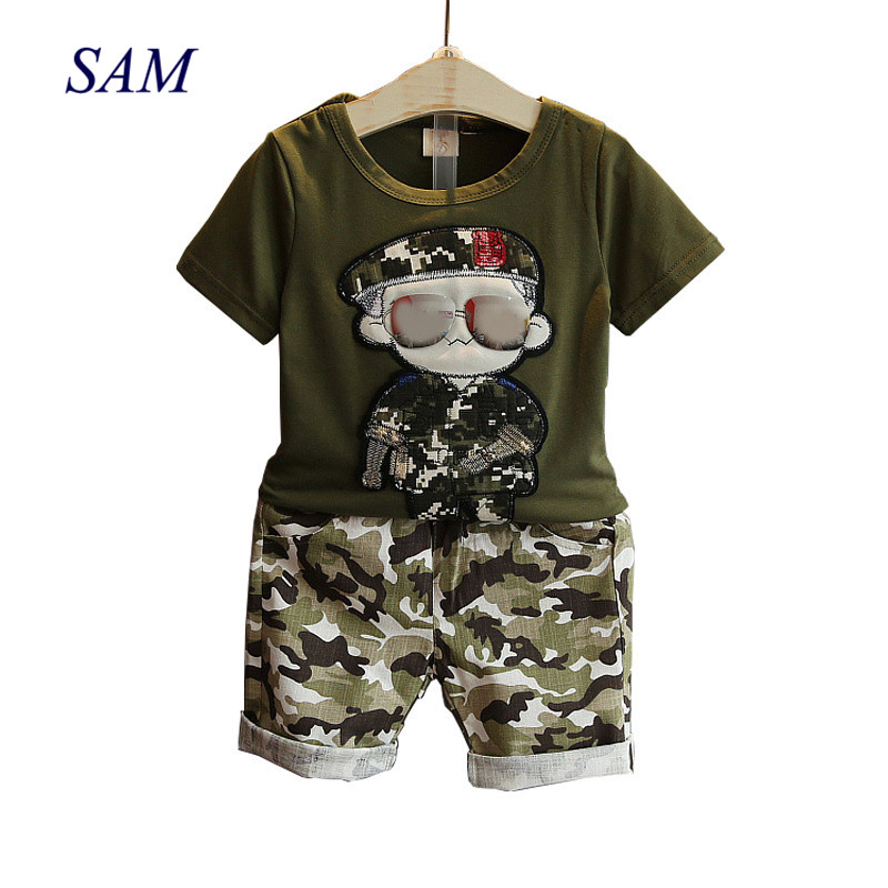Children's Clothes 2019 Summer Kids Short Sleeves T-Shirt + Camouflage Shorts Suits Toddler Boys Clothing Sets(China)