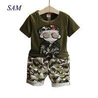 Детская одежда 2019 г. летняя детская футболка с короткими рукавами + камуфляжные шорты, костюмы комплекты одежды для маленьких мальчиков