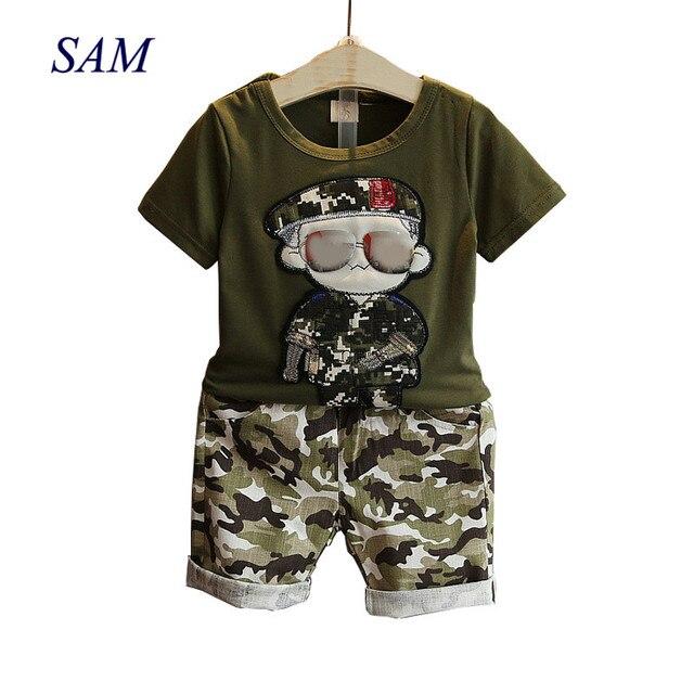 Детская одежда 2019 летняя детская с коротким рукавом футболка + камуфляжные шорты комплекты одежды для маленьких мальчиков