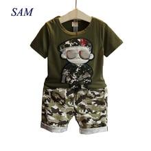 Children's Clothes 2019 Summer Kids Short Sleeves T-Shirt + Camouflage Shorts Su