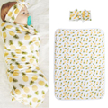 Newborn Baby Infant Swaddle Wrap Blanket Pineapple Print Sleeping Bag with Headband Baby Swaddling Bedding Blanket