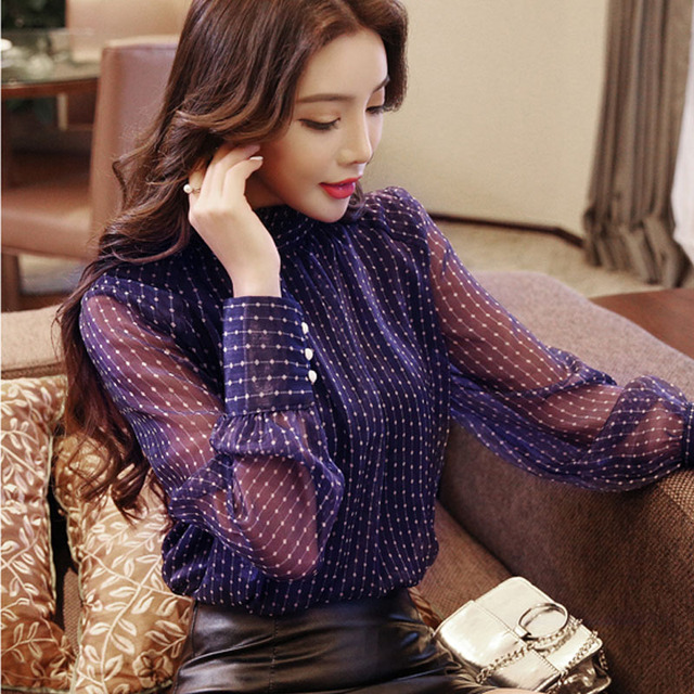 new arrived 2018 spring blouse women long sleeved shirt female fashion loose blouse office lady clothing D468 30 3