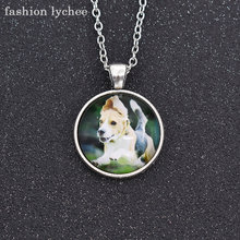 fashion lychee Cute Pets Sleeping Running Dog Image Cabochon Pendant Necklace Glass Jewelry Gift For Girls Boys(China)