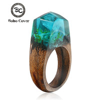 Hot Sale Resin Magic Wooden Rings For Women Rainforest Wooden Ring Jewelry Fashion Natural Landscape Wood