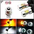 (2) No Hyper Flash 1156 7506 7528 BA15s SAMSUNG White/Amber Switchback LED Bulbs For Daytime Running Lights/Turn Signals
