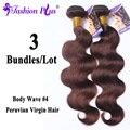 8А Мода Плюс Продукты Волос Перуанский Девы Волос Объемной Волны светло-Коричневый #4 3 Пучки Выдвижение Человеческих Волос Девственница Перуанский волос