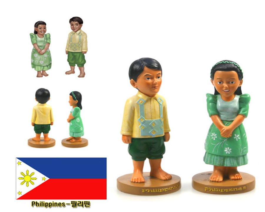 Hand painted Philippines National Costumes A Pair Of Doll Statue Resin Crafts Tourism Souvenir Gifts Collection