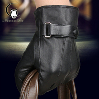2016Winter Male Blending Sheepskin Leather Gloves Fur Cape Glove Men Motor Cycle Glove Wool Mittens Pure