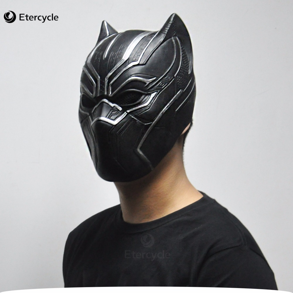 Black Panther maska ​​Movie Fantastic Four Cosplay Vīriešu lateksa puse rotaļlieta Halloween