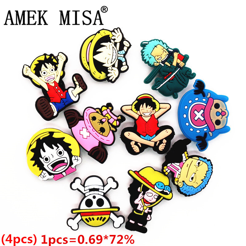Single Sale 1pcs PVC Shoe Charms Luffy Shoe Accessories Cartoon ONE PIECE Shoe Decoration For Croc Jibz Kid's Party X-mas Gift
