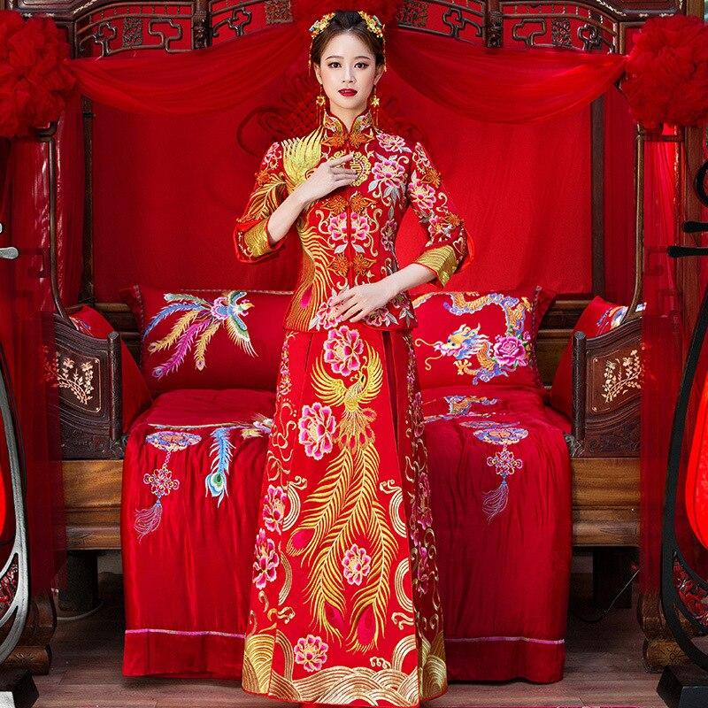 Haute Qualité Femmes Phoenix Broderie Cheongsam Longue Qipao Robes De Mariée Traditionnelle Chinoise Robe Chine Magasin de Vêtements