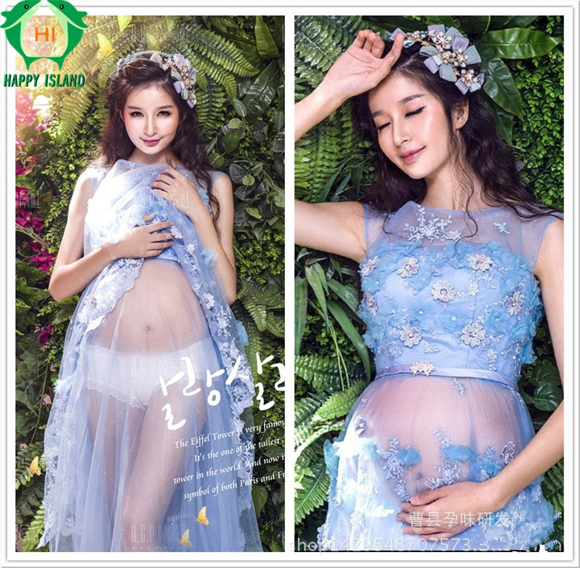 HAPPY ISLAND Maternity Maxi dress Maternity Photography Props Lace Dress Off Shoulders Fairy Trailing Pregnant Dresses Pregnancy