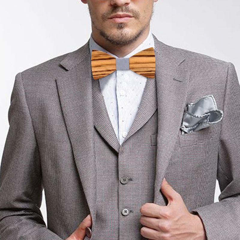 Zebra Grain Wooden Bow Tie For Men Male Trendy Necktie Wood Bowtie Handkerchief Cufflinks Set Box