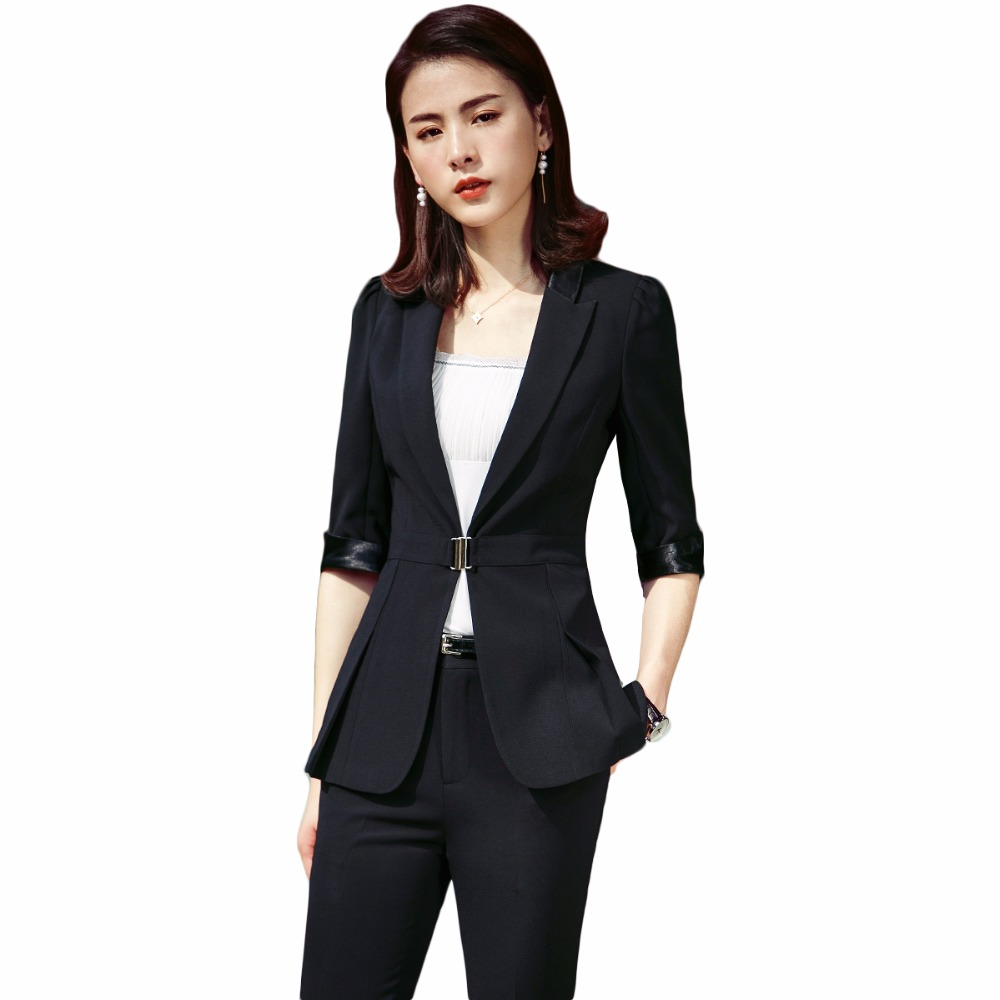 2018 new formal office work plus size slim blazer and pants trousers set elegant women business pant suits