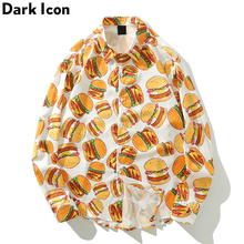 Dark Icon  Hamburger Printed Street Shirts Men Autumn Holiday Hawaiian Hip Hop Streetwear Clothes
