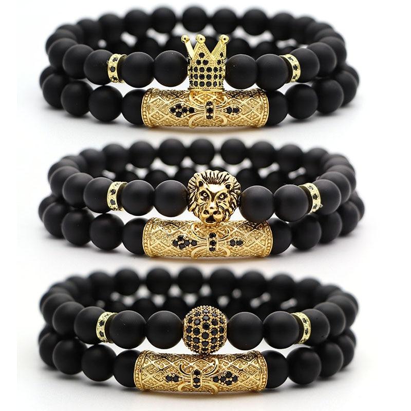 2Pcs/Set Natural Stone 4 Style Bead Man Bracelets Popular Pave CZ Small Crown and Ball Bracelet Classic Matte Black Jewelry(China)