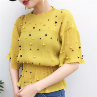 New 2017 Fashion Sexy Beading Chiffon Pearl Blouses Half Flare Sleeve Blouse Ladies Casual Tops
