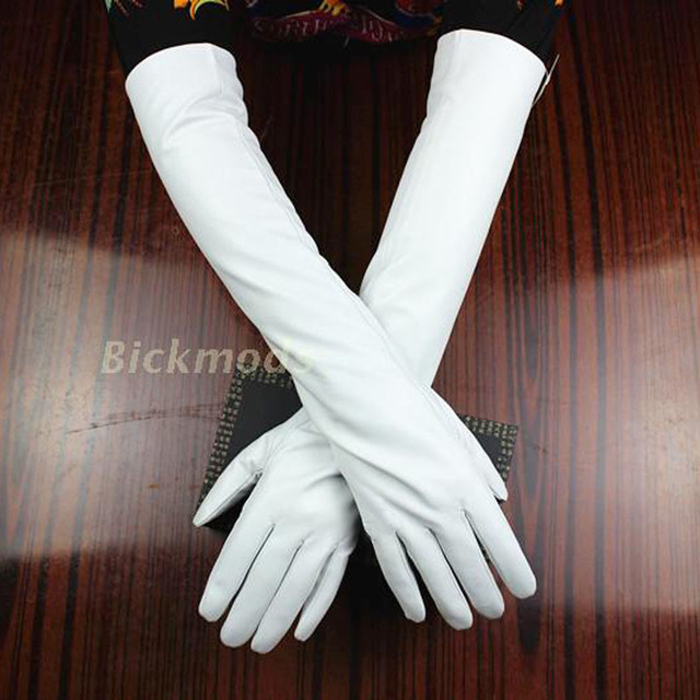 Long Leather Gloves Color...