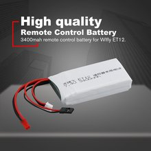 7.4V 3400mAh Rechargeable Remote Control Lithium Battery Transmitter Battery for Wlfly ET12 RC Models Parts Toys Battery high quality black white frsky accst taranis q x7 transmitter spare part protective remote control cover shell for rc models