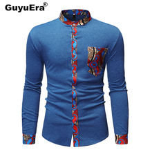 GuyuEra New mens African Ethnic Style Stitching Collar Long Sleeve Shirt