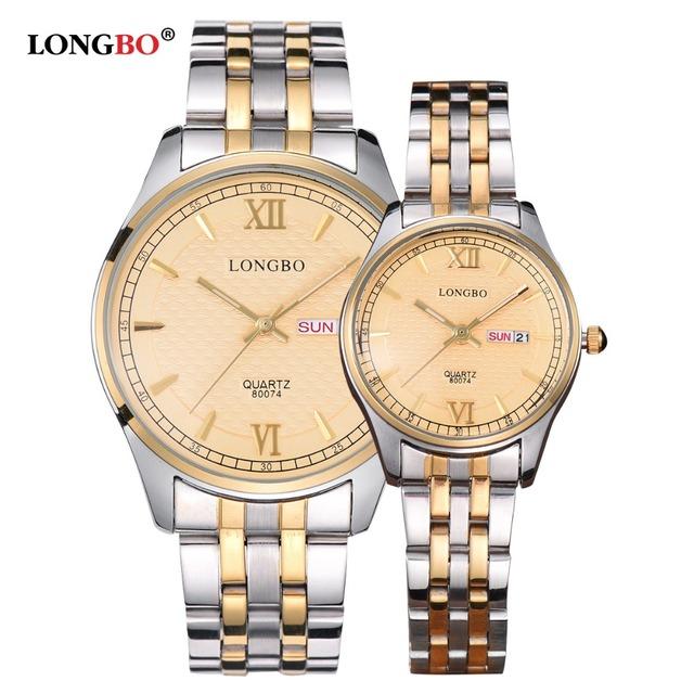 Longbo amantes casal relógios de luxo auto data waterproof mulheres ouro aço inoxidável quartz homens relógio de pulso montre homme moda
