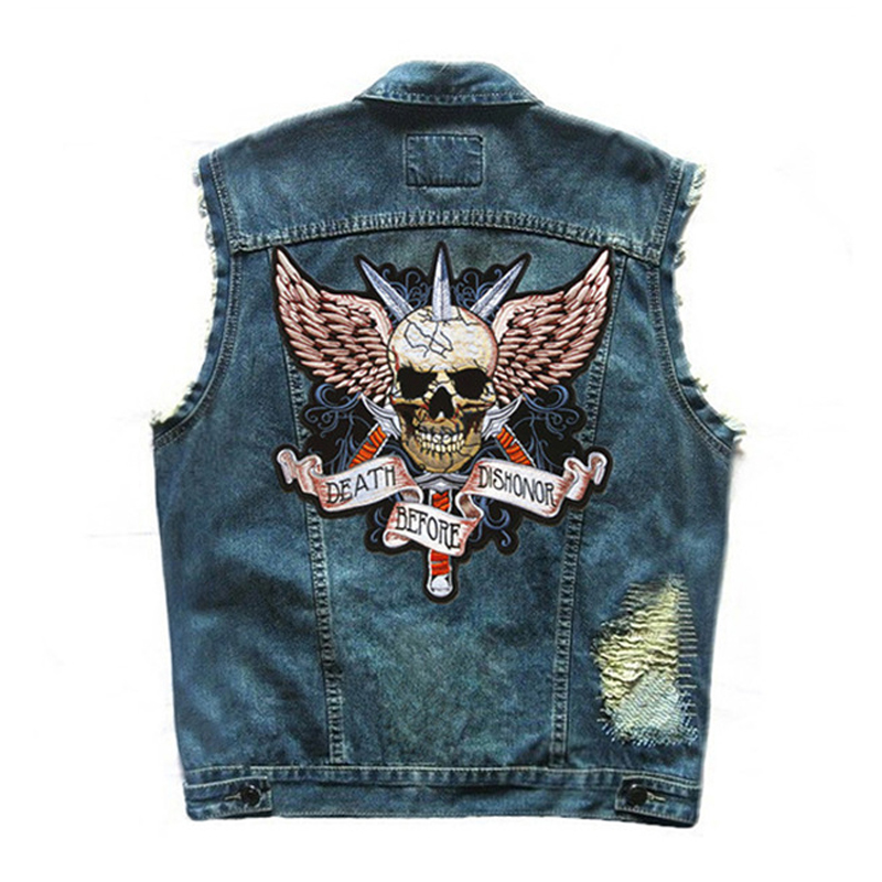 HEROBIKER Motorcycle Vest Men Locomotive Retro Vintage Reflective Flashing Denim Vest Motorsiklet Blue Safety Jacket Moto Vests