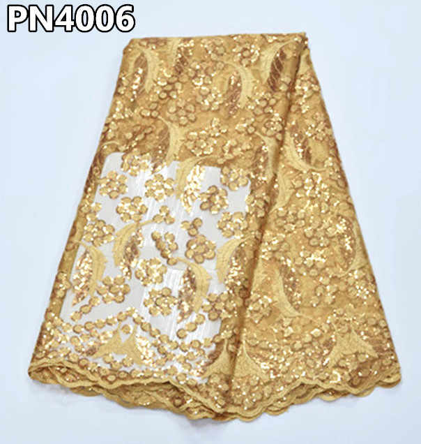 Gold french lace fabric with sequins african lace fabric 2018 embroidered nigerian PN40