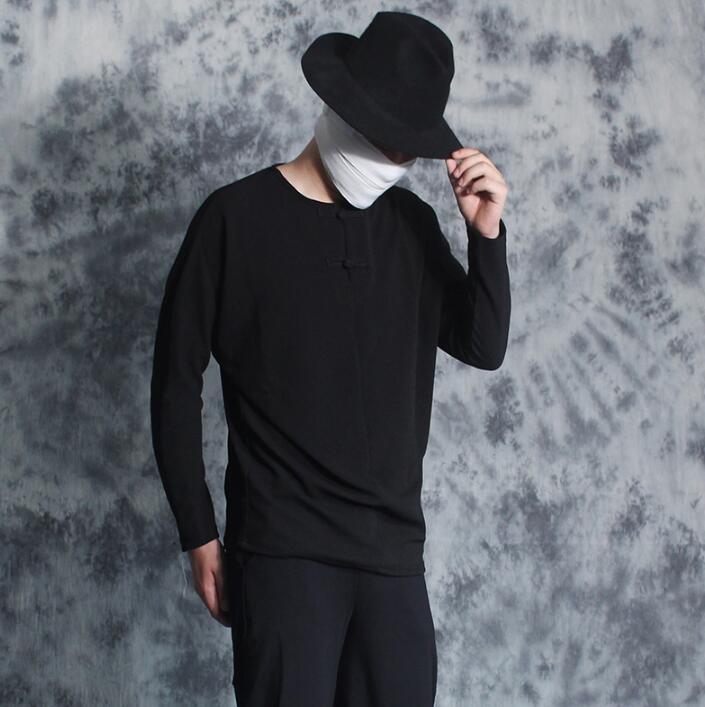 All-match mode punk vintage style chinois lâche chemise hommes à manches longues chemise plaque boutons t-shirt hommes personnalité noir
