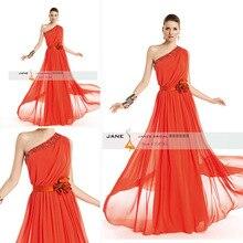 E4254 Traje De Gala Vestidos De Festa Longo Maß Schulter Perlen lange orange Chiffon formales Kleid