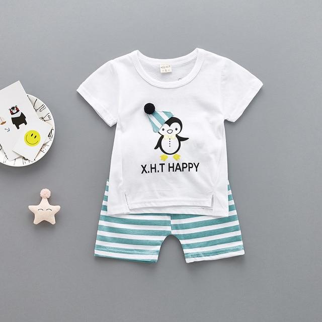 f93902f4c06d Baby Boy Clothes 2018 Summer Short sleeve Infant Clothing boys penguin  T-shirts Tops + Pants Kids Bebes Jogging Suits