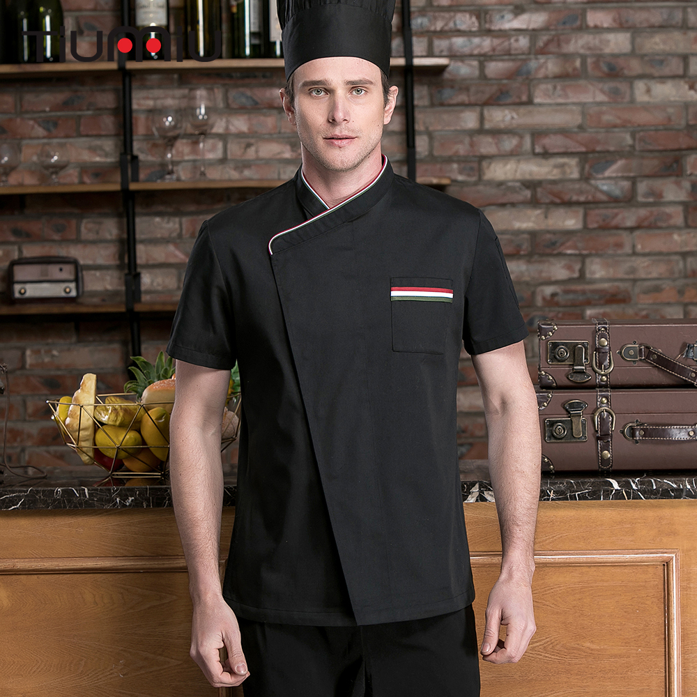 Unisex Top Restaurant Chef Jackets Short Sleeve French Cook Clothing Kitchen Ood Service Hotel Barber Shop Workwear Uniforms