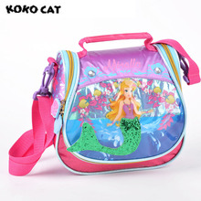 KOKOCAT Cute Mermaid Printing Insulated Lunch Cooler Bags For Girls Fashion Cartoon Kids Lunch Box Thermal Food Picnic Bags
