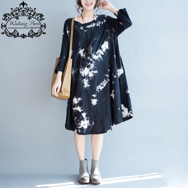 2016 das mulheres plus size dress outono novo tamanho grande padrão de impressão roupas de algodão ocasional do vintage elegante macio solta t-shirt dress