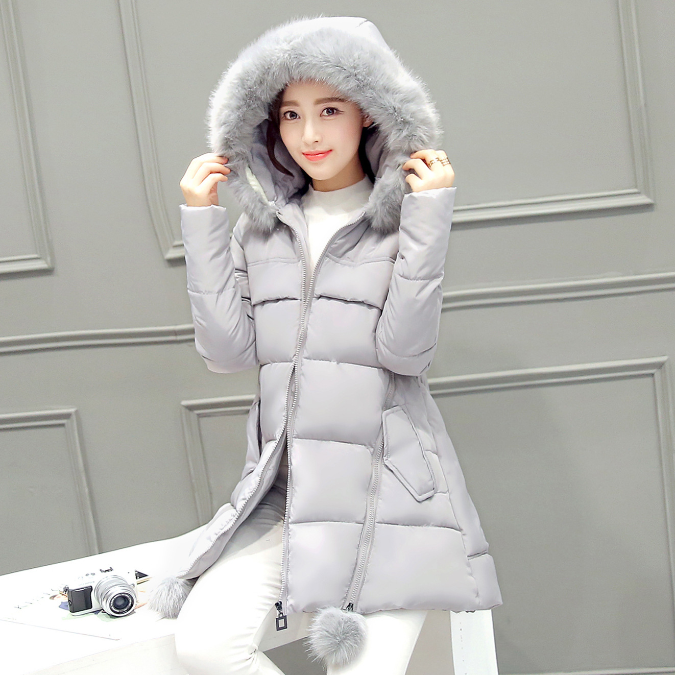 Women's Winter Jacket 2016 Female Hooded Coat With Fur Slim Long High-quality Padded Down Cotton Casual Fashion Women Parka