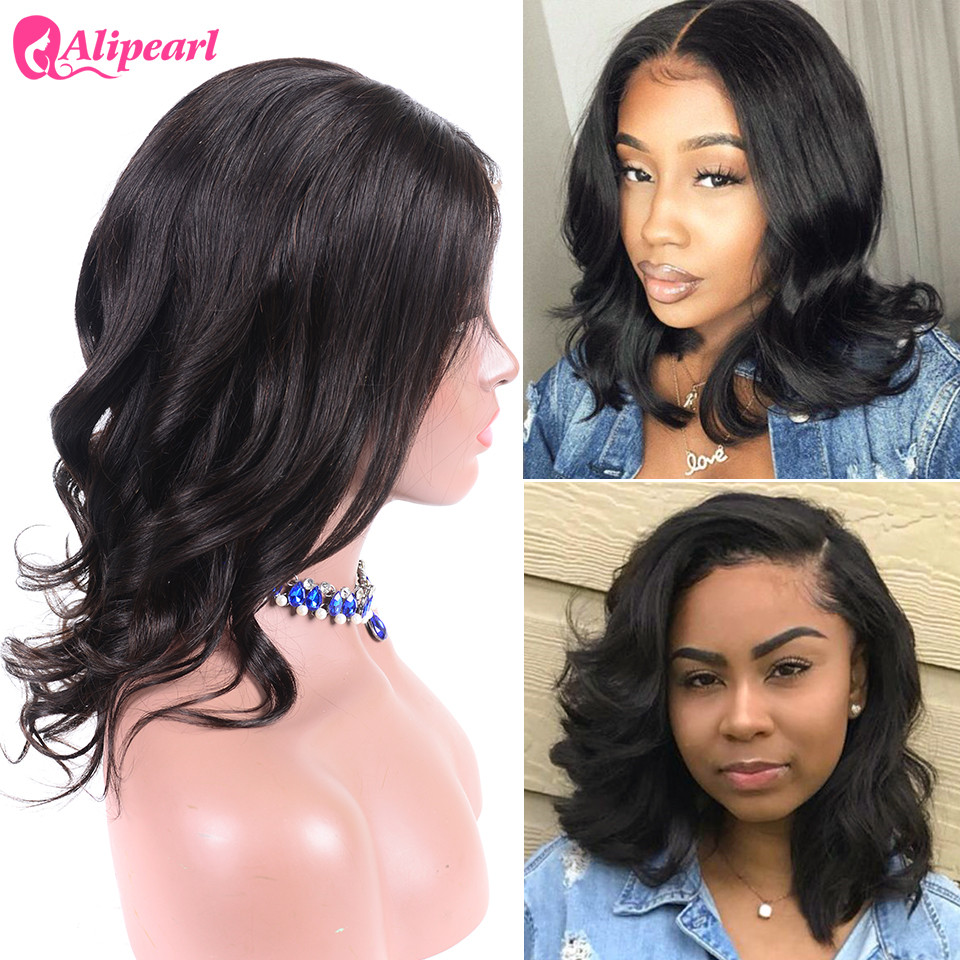 Human Hair Lace Wigs Lace Wigs Short Lace Front Human Hair Wigs Brazilian Straight Bob Wigs Pre Plucked Hairline Natural Wigs For Black Women Alipearl Hair Wig