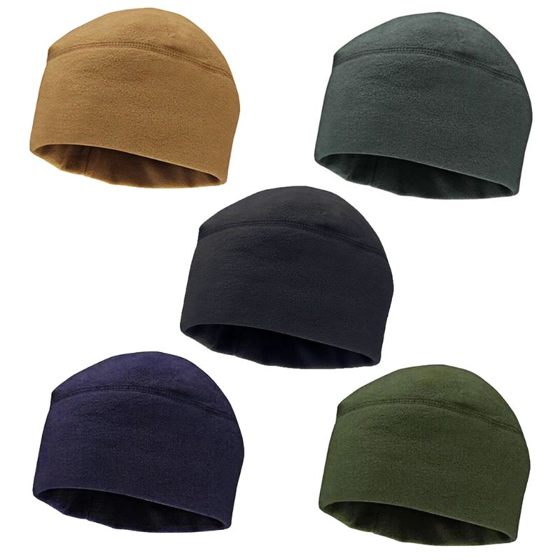 Men Women Unisex Winter Solid Color Soft Warm Watch Cap Polar Fleece Thickened Military Beanie Hat Windproof Outdoor Headwear