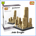 Mr. froger loz bloques de construcción arquitectónica rockefeller center modelos mini bloques bloques de construcción de juguetes famosa world architecture