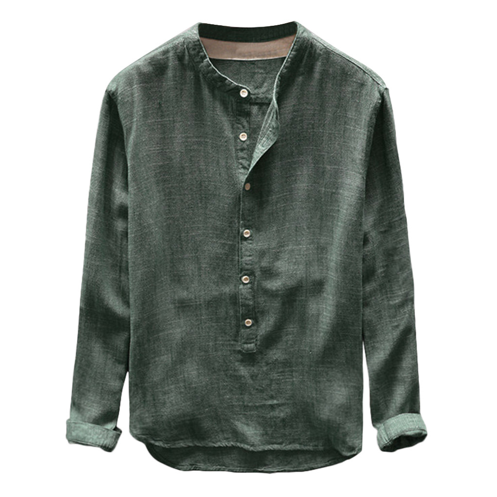 Tops Shirt Basic-Button Linen Long-Sleeve Tunic Mens Plus-Size Casual Summer Solid 4XL