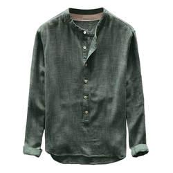 Плюс размер 4XL Туника Мужская s рубашка однотонная льняная Базовая Кнопка Повседневная льняная хлопковая рубашка с длинным рукавом рубашки