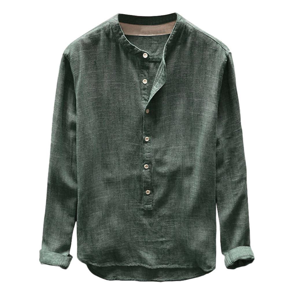 Plus Size 4xl Tunic Mens Solid Blouse Linen Basic Button