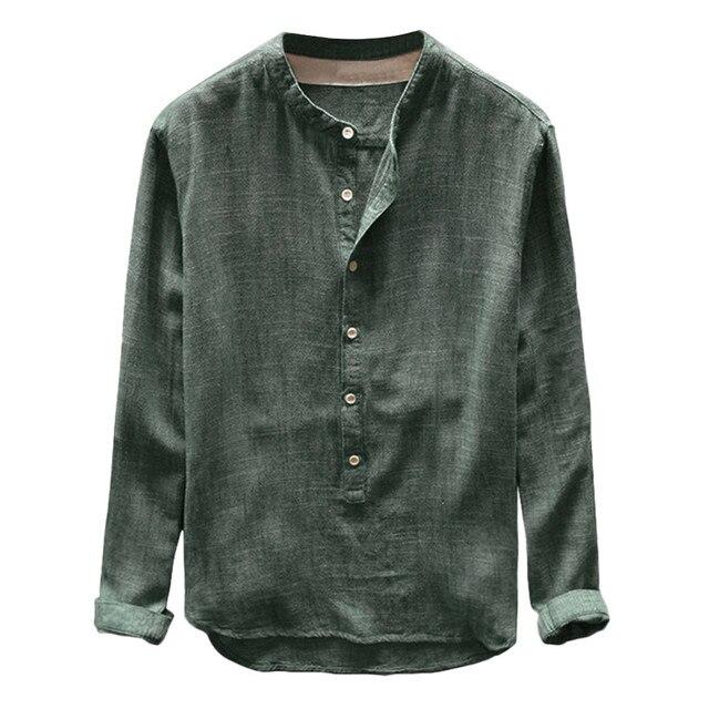 Plus Size 4XL Tunic Mens Solid blouse linen Basic Button Casual Linen Cotton Long Sleeve V-neck shirts men Summer 2019 tops