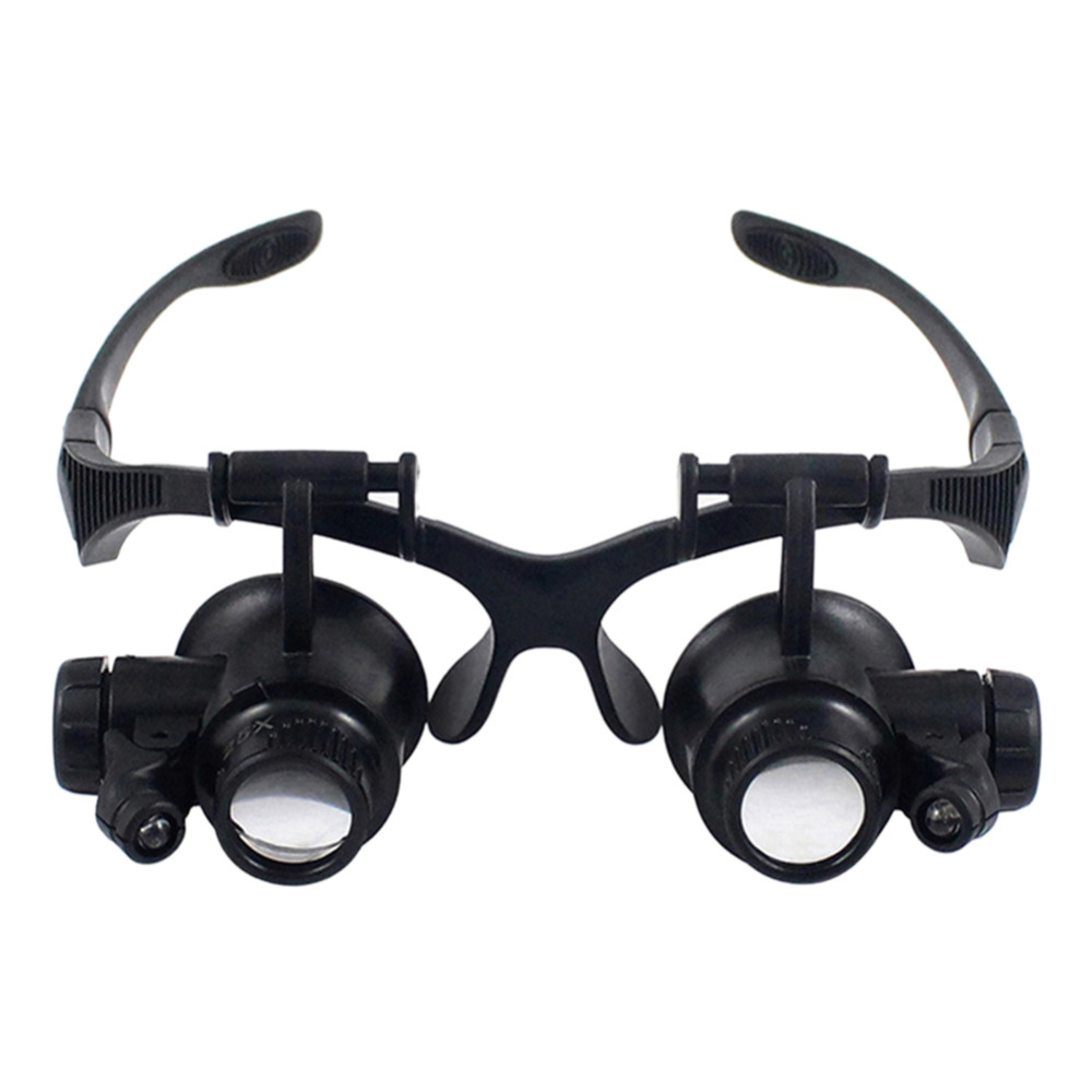 цена на Wearing Style Magnifier 10X 15X 20X 25X magnifying Glass Double LED Lights Eye Glasses Lens Loupe Jeweler Watch Repair Tools