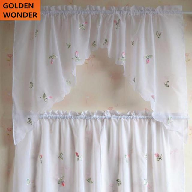 pastoral small chili embroidery finished coffee curtain short sheer curtains kitchen curtains kitchen cafe curtains 4pieces - Kitchen Cafe Curtains