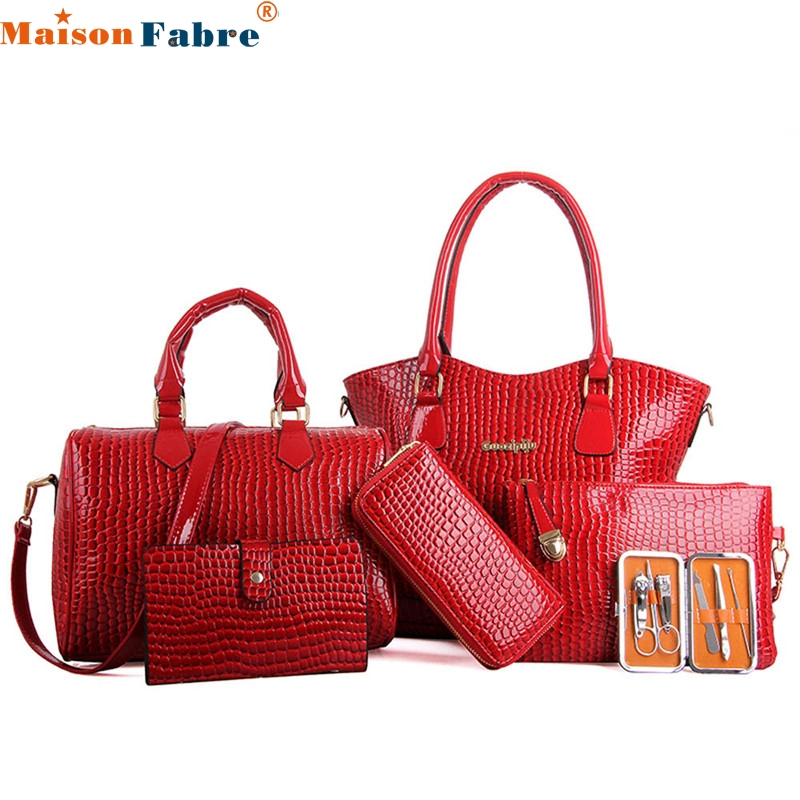 Women Six font b Set b font Fashion font b Handbag b font Shoulder Bags Six